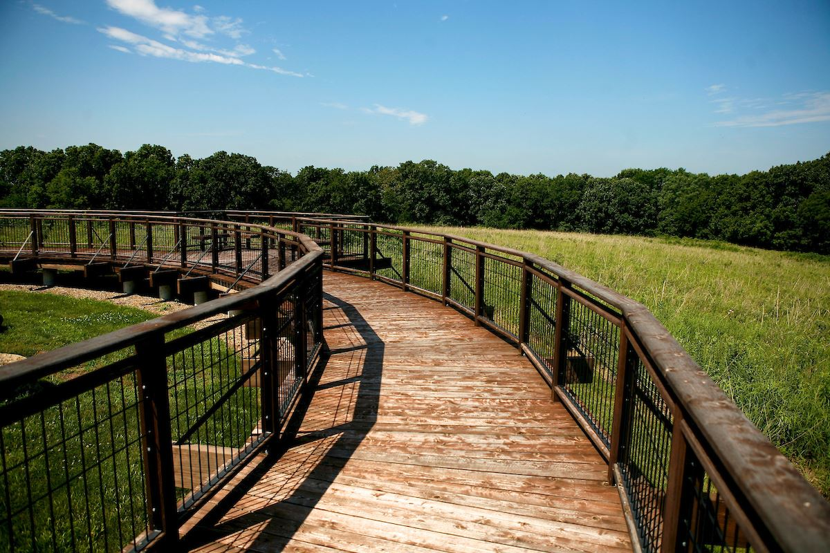 The observation deck in Kill Creek Park looks out over 20 plus acres of pristine tallgrasss prairie